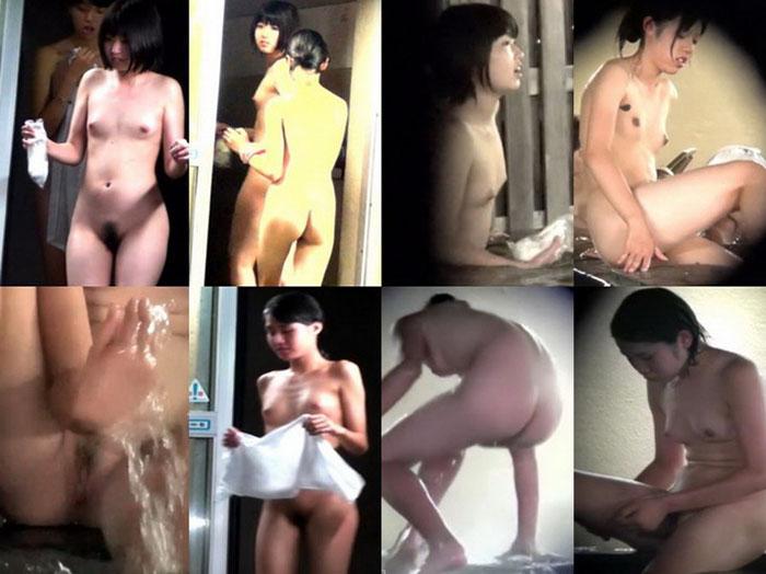 望遠盗撮。SPAでみつけた若い娘の綺麗な裸体を