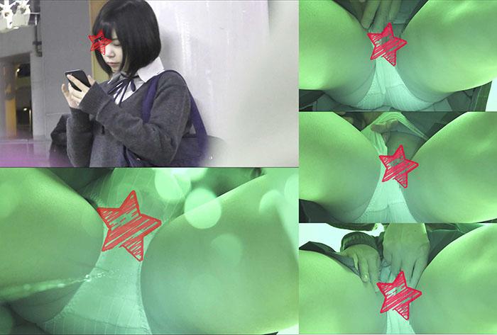 【電車痴漢】顔出し制服JK★またもJC?あるいはJK1!?★文系色白美少女★ジュニア用綿パンツから大量のお漏らし